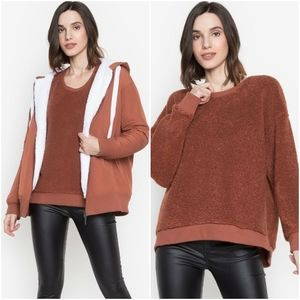 KENNETH COLE Chic Rust Faux Shearling Sweater